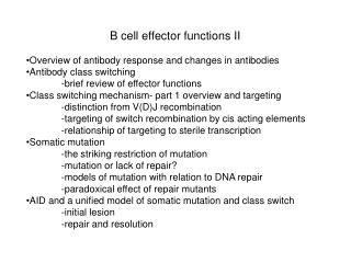 B cell effector functions II Overview of antibody response and changes in antibodies