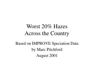 Worst 20% Hazes  Across the Country