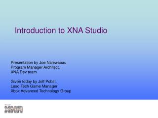 Introduction to XNA Studio