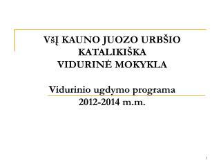 VšĮ KAUNO JUOZO URBŠIO KATALIKIŠKA VIDURINĖ MOKYKL A Vidurinio ugdymo program a 20 12 -201 4  m.m.
