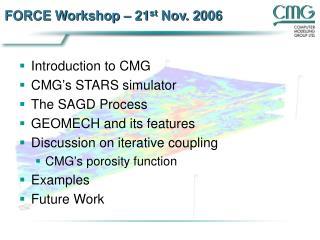 FORCE Workshop   21st Nov. 2006