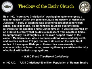 Theology of the Early Church