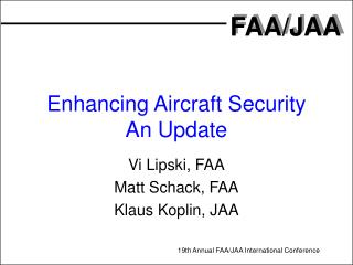 Enhancing Aircraft Security An Update