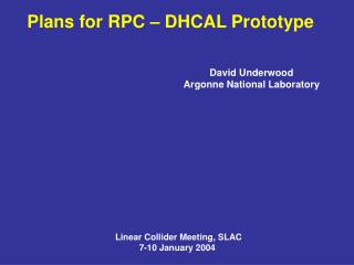 Plans for RPC – DHCAL Prototype