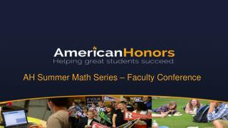 AH Summer Math Series –  Faculty Conference