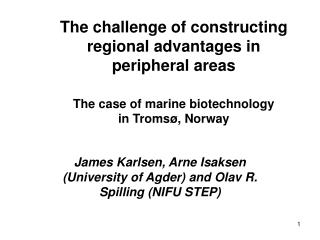 James Karlsen, Arne Isaksen (University of Agder) and Olav R. Spilling (NIFU STEP)