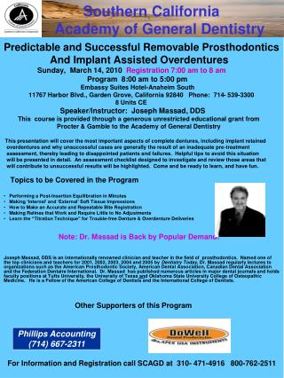 Presents Predictable and Successful Removable Prosthodontics