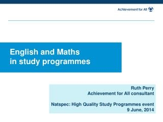 English and Maths  in study programmes