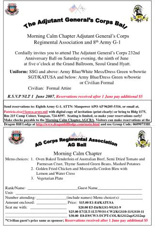 Morning Calm Chapter Adjutant General�s Corps Regimental Association and 8 th  Army G-1