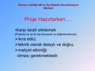 Samsun Valiliği AB ve Dış İlişkiler Koordinasyon Merkezi Proje Hazırlarken….
