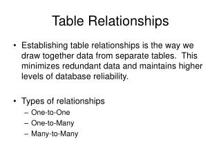Table Relationships