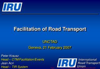 Facilitation of Road Transport