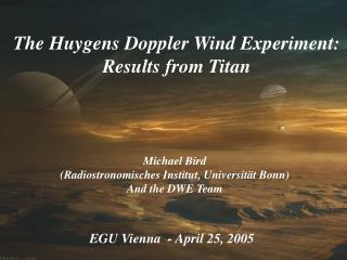 The Huygens Doppler Wind Experiment: Results from Titan