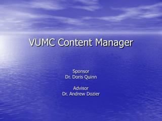VUMC Content Manager