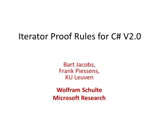 Iterator Proof Rules for C V2.0