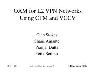 OAM for L2 VPN Networks Using CFM and VCCV