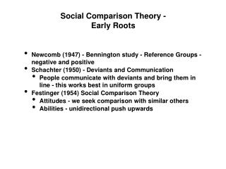 Social Comparison Theory - Early Roots