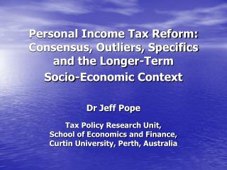 Personal Income Tax Reform:
