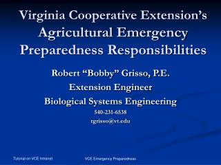 Virginia Cooperative Extension's  Agricultural Emergency Preparedness Responsibilities