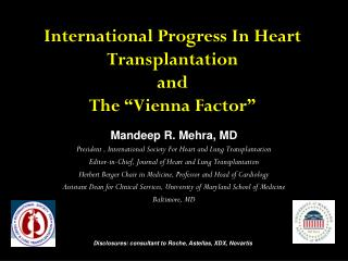 International Progress In Heart Transplantation  and    The �Vienna Factor�