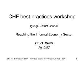 CHF best practices workshop
