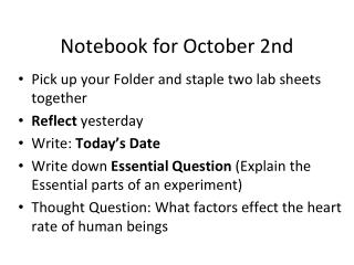 Notebook for October 2nd