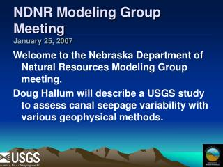 NDNR Modeling Group Meeting January 25, 2007