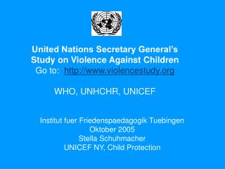 United Nations Secretary General's Study on Violence Against Children