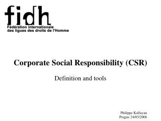 Corporate Social Responsibility (CSR) Definition and tools