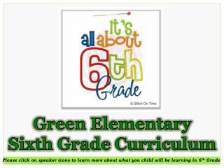Green Elementary Sixth Grade Curriculum
