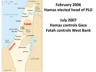 February 2006  Hamas elected head of PLO July 2007 Hamas controls Gaza Fatah controls West Bank