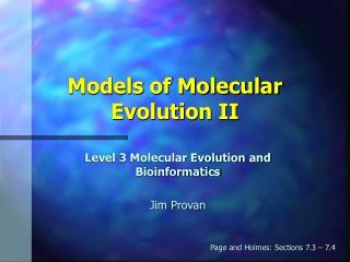 Models of Molecular Evolution II