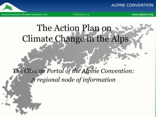 The Action Plan on  Climate Change in the Alps