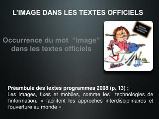 L'IMAGE DANS LES TEXTES OFFICIELS