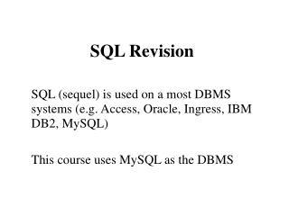 SQL Revision