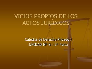 VICIOS PROPIOS DE LOS ACTOS JURÍDICOS