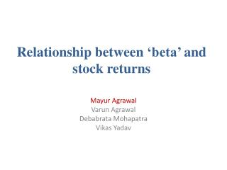 Relationship between  'beta'  and stock returns