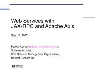 Web Services with JAX-RPC and Apache Axis
