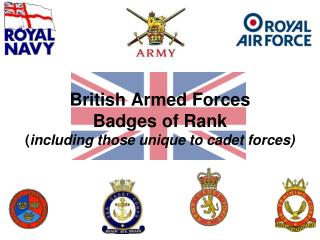 British Armed Forces Badges of Rank ( including those unique to cadet forces)