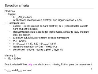 Electrons trigger: EF_e10_medium Δ R between reconstructed electron †  and trigger electron < 0.15