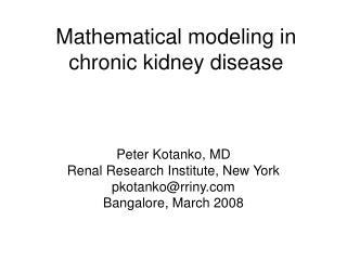Mathematical modeling in chronic kidney disease