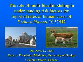 Dr. David L. Pearl Dept. of Population Medicine, University of Guelph Guelph, Ontario, Canada