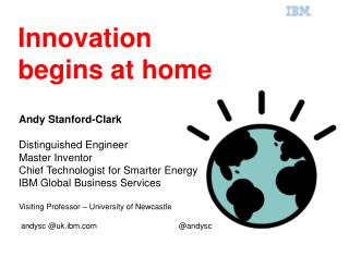 Andy Stanford-Clark Distinguished Engineer Master Inventor Chief Technologist for Smarter Energy