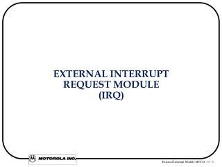 EXTERNAL INTERRUPT REQUEST MODULE  (IRQ)