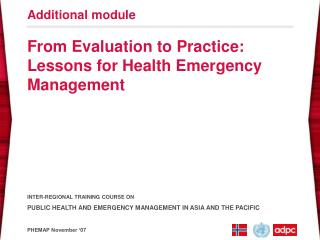 From Evaluation to Practice: Lessons for Health Emergency Management