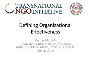 Defining Organizational Effectiveness