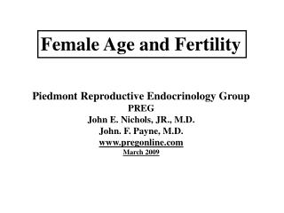 Female Age and Fertility