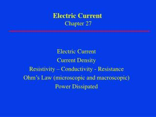 Electric Current Chapter 27