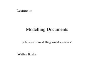 Modelling Documents