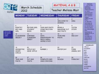 March Schedule 2012